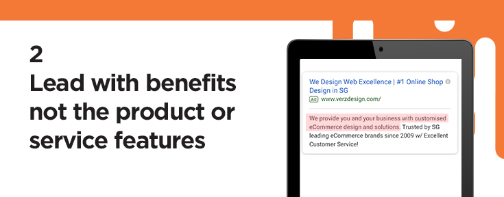 Lead with benefits, not the product or service features
